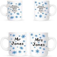MR AND MRS CHRISTMAS SNOWFLAKE MUGS PERSONALISED GIFT FOR A COUPLE TWO MUG