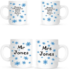 MR AND MRS CHRISTMAS SNOWFLAKE MUGS PERSONALISED GIFT FOR A COUPLE TWO MUG