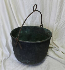 Antique Brass Kettle with Iron Forged Handle for Hanging