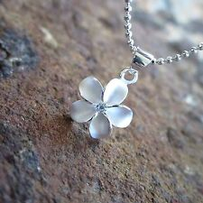 12mm Plumeria Flower Hawaiian Genuine Sterling Silver Pendant Necklace #SP43601