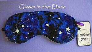 Eye Sleep Mask Soft Cotton Blue Stars Space Galaxy Glow in the Dark Gift UK Made