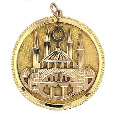 """CHARM PENDANT 14K Yellow Gold """"The Blue Mosque"""" Istanbul Turkey - Estate Jewelry"""