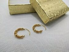 Saudi arabia 21k solid gold beads hoop earrings