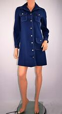 Vintage 60's  Mod Go Go Scooter Navy Blue Mini Dress by California Girl Size S/M