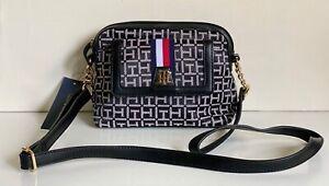 NEW! TOMMY HILFIGER BLACK CAMERA MESSENGER CROSSBODY SLING BAG PURSE $78 SALE
