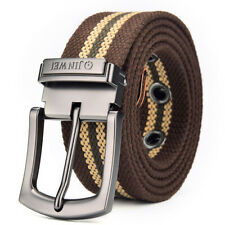 Mens Canvas Belt High Quality Alloy Buckle Free Size Belts Trouser Jeans UKStock