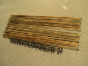 13 SOLID OAK  STAIR RODS AND 26  BRACKETS
