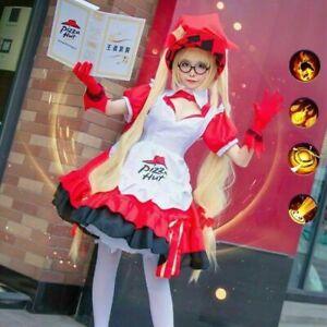 SET Womens Pizza Hut Lolita Maid Witch Dress Halloween Costume Cosplay!