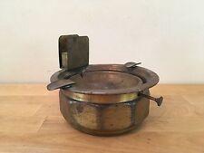 Vintage Brass Metal Ashtray with Matchbox Holder & Knob Emptying Mechanism