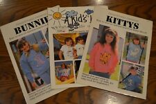 Vintage Iron-On Transfer Books T-Shirt Patterns Bunny Kitty Kids Lot of 3