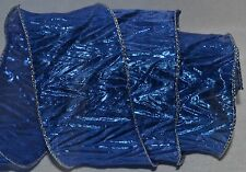 Wired Ribbon~Semi-Sheer~Crinkle Metallic Blue~Silver~Krinkle~Wreath~Holiday~Bow