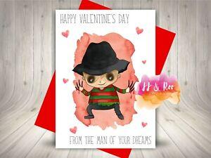 Funny Horror Movie Inspired Valentine's Day Card   Freddy Krueger   Alternative