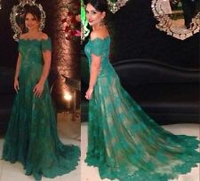 Short Sleeve Green Off the Shoulder Lace Mother of the Bride Dress Bridal custom
