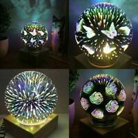 3D Glass LED Ball Night Light USB Projector Lamp Fireworks Party Decor Gifts