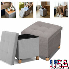 "15"" Folding Storage Ottoman Toy Box Chest Seat Ottomans Bench Foot Rest Stool"