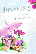 Joyeux Anniversaire Picnic parapluie champagne verres & Fleurs Design Carte
