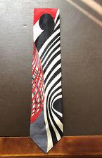 Vtg Fratelli 100% Silk Tie- Italy- Black, Red, Grey White