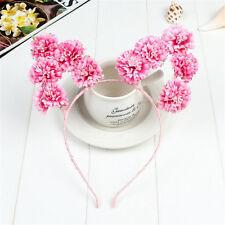 Pink Rose Flower Cat Animal Ears Headband Kawaii Pastel Goth Hair band Prop