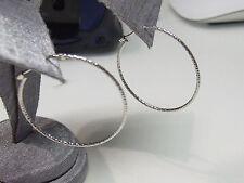 Meraviglioso anello grande Orecchini a cerchio HUGGIES insolito martellato Finitura 925 Argento