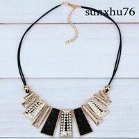Women Pendant Chain Crystal Choker Chunky bib Statement Necklace Jewelry Gift