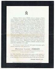 Avis de Décès Lucien Jossier - Compagnie Générale de Navigation - Paris 1905
