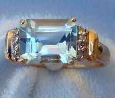 10K Yellow Gold Ring, 9 X 7mm Blue Topaz, 8 tiny Diamonds, Size 7