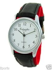 Eichmüller kleine Quartz Herrenuhr weiß silber Lederarmband schwarz mens watch