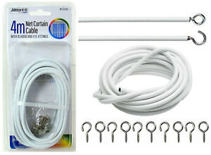 4m White Net Curtain Wire Cord Cable with Hooks and Eyes Fittings Window DoorDIY