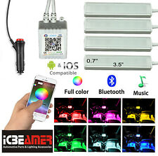 4pcs Bluetooth Car Interior RGB LED Strip Atmosphere Light Phone APP Control X3