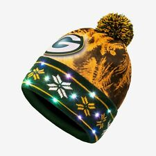 Green Day Packers LED Big Logo Light Up NFL Authentic Winter Printed Pom Beanie