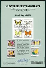 BRD KÜNSTLER-ETB 1991/15 JUGEND SCHMETTERLINGE KÜNSTLER-ERSTTAGSBLATT LTD.