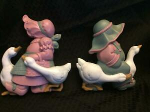 Mother goose Pink Mauve and green with white goose Burwood Product