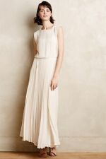 NEW ANTHROPOLOGIE $178 IVORY ICEPLEAT MAXI DRESS BY MORDEAUX SZ M MEDIUM