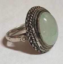 Vintage Chinese Silver Gilt Jade Jadeite Adjustable Poison Ring Sodalite? Buddha