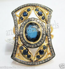 .925 Sterling Silver Anniversary Ring 2.50ct Rose Cut Diamond Blue Sapphire
