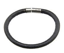 Bracelet cuir Ø6mm Homme Femme fermoir clips metal bijou ethnique noir  BB 21042