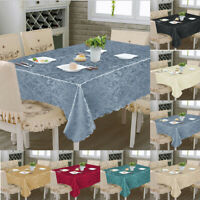 Damask Jacquard Table Cloth Cover Napkin Rectangle Runner Round Dining Tableware