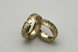 10K SOLID YELLOW GOLD HIS AND HER WEDDING BAND RING SET SZ 4-15 FREE ENGRAVING