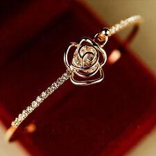 Elegant Rhinestone Camellia Bangle Women Crystal Cuff Bracelet Jewelry Fashion