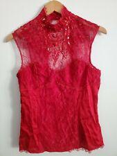 Bebe Medium Red Silk Lace Top