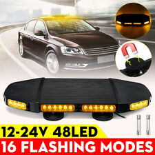 12/24V 48 LED Roof Magnetic Strobe Light Bar Emergency Beacon Warning Flash Lamp