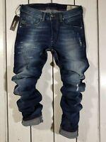 New Diesel Men's Jeans Belther 084GF Regular Slim Tapered Stretch Blue Christmas