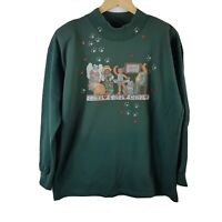 Cat Lovers Anonymous Sweatshirt Large L Vtg Sweater 90s Green Shoulder Pads
