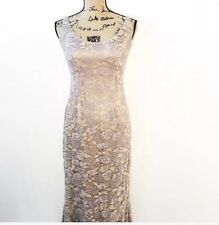 Carmen Marc Valvo Signature Gown 4 Dusty Rose Lace Overlay Long Formal Dress