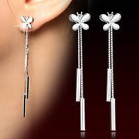 Geometric Full Crystal Drop Dangle Earrings Tassel Women Wedding Jewelry JA