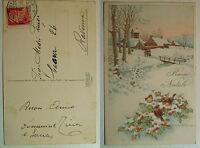 Bertiglia cartolina  Buon Natale       viaggiata 1938   con 20 centesimi Cesare
