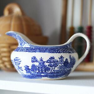 Antique Blue & White Transferware Gravy Boat Pitcher - Blue and White China