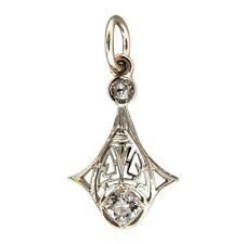 Art Deco Filigree 14K White Gold Filigree Pendant 0.28CT Old Mine Cut Diamonds
