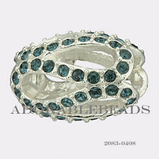 Authentic Chamilia Silver Crystal Glistening Meander Blue Bead 2083-0408