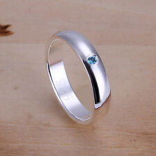 925 STERLING SILVER FILLED BLUE Zircon Stone Simple Solid RING SIZE 6 7 8 9 10